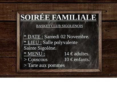 Soirée familiale du Basket Club Sigolenois