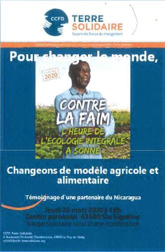 Soirée soupe solidaire, suivie d'une conférence sur le changement climatique et modèle agricole